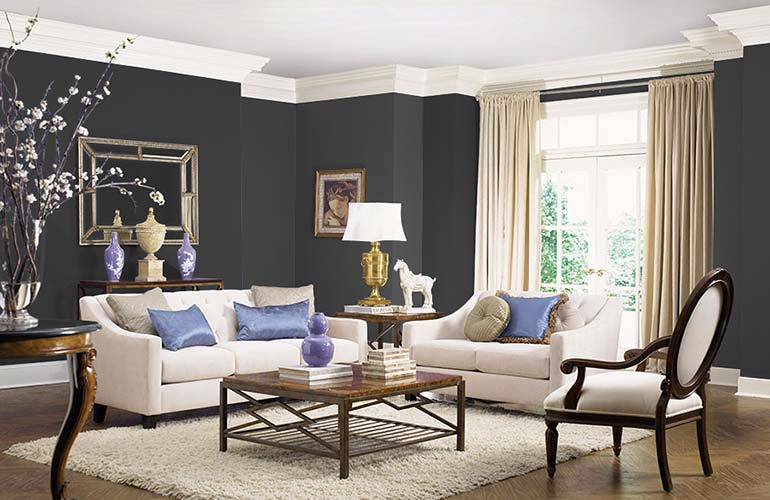 A room painted in Olympic Black Magic OL116 interior paint