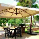 Large patio umbrellas in square shape
