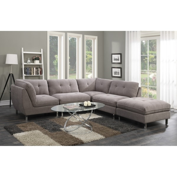 Shop Emerald Home Castello Grey 5-Piece Set Sectional Sofas - Free