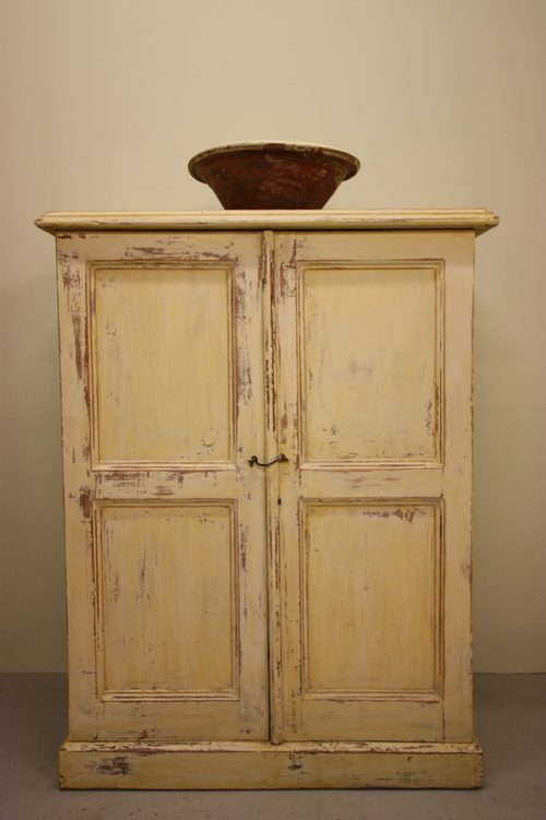 Antique Painted Pine Two Door Cupboard. - Antiques Atlas