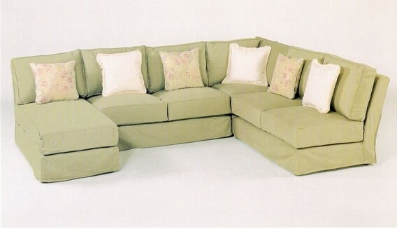 CL-1604 slip 4 pc custom armless sectional sofa with slip covered pieces