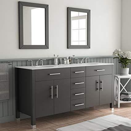 Amazon.com: 72 Inch Espresso Double Basin Sink Bathroom Vanity Set