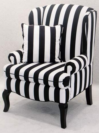 Black-and-white striped Encore wingback chair, $125, available