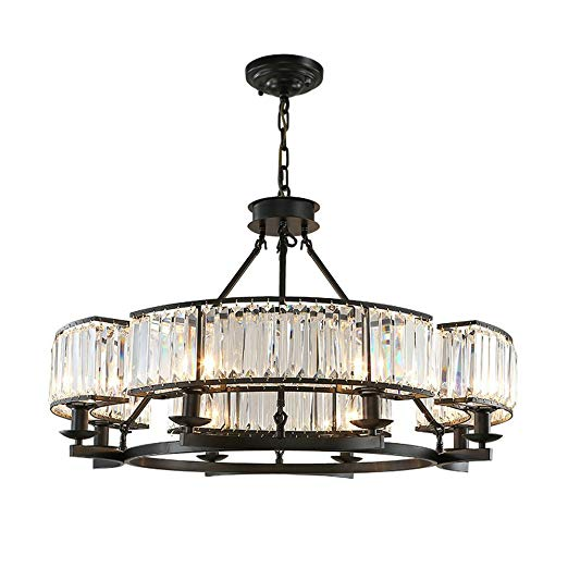 DPG Lighting K9 Crystal Black Chandelier Lighting Large Long Crystal