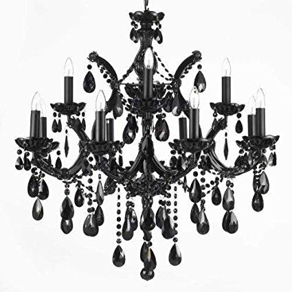 JET BLACK CHANDELIER CRYSTAL LIGHTING 30X28 - - Amazon.com