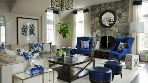 Morgan Harrison Home - living rooms - wingback chairs, blue wingback
