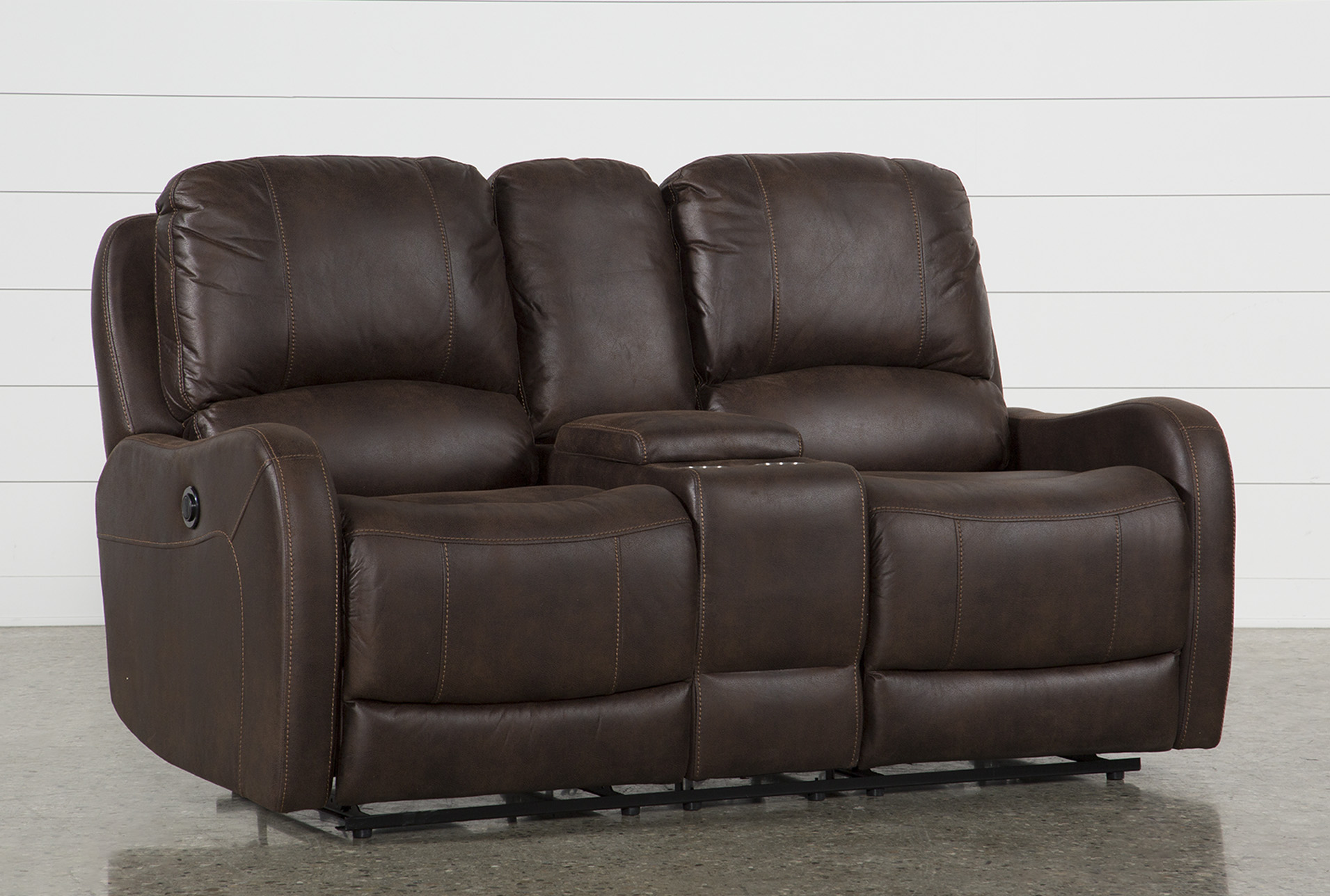 Davor Brown Power Reclining Loveseat With Console | Living Spaces