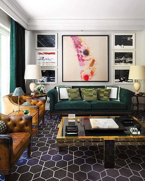 Wow. That dark green sofa. That gray/charcoal geometric, flatweave