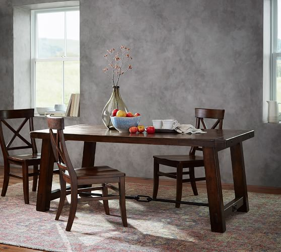 Benchwright Dining Table, Rustic Mahogany | Pottery Barn