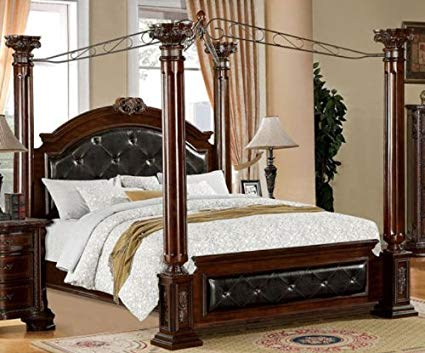Amazon.com: 247SHOPATHOME IDF-7271CK Canopy Bed California King