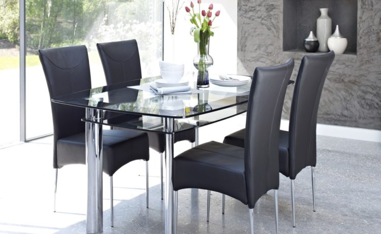 Black Rectangular Glass Dining Room Furniture Table And Chairs