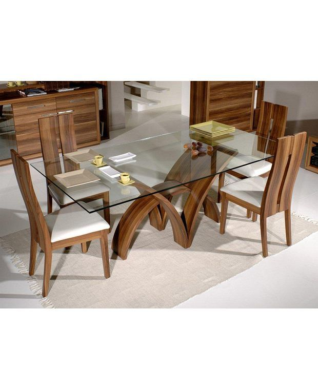Dream Furniture Teak Wood 6 Seater Luxury Rectangle Glass Top Dining