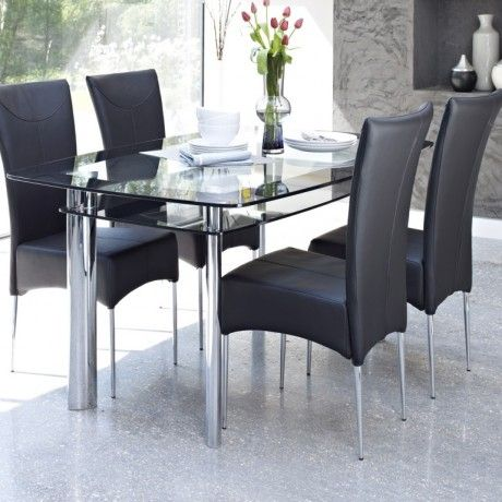 Contemporary Glass Dining Table Design Come With 2 Tier To Storage