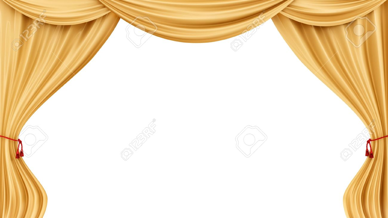 render of gold curtains, isolated on white Stock Photo - 16935898
