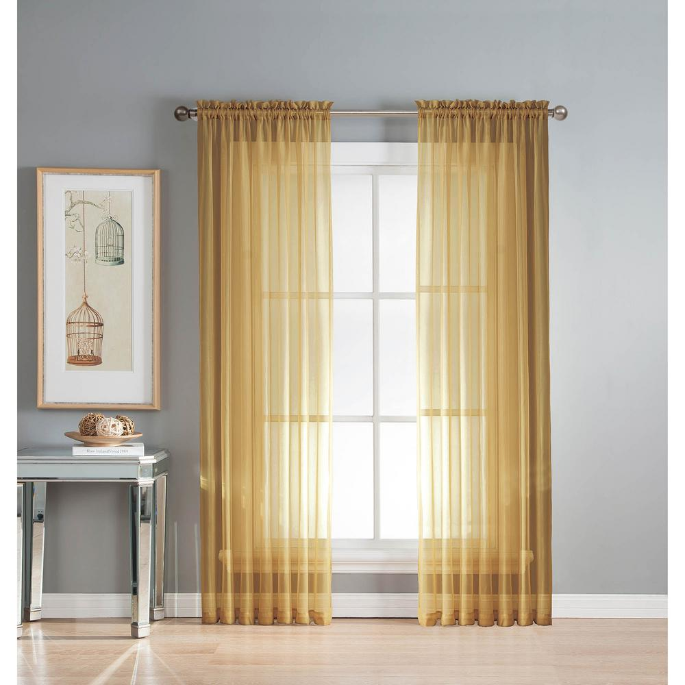 Sheer Gold Solid Voile Extra-Wide Sheer Rod Pocket Curtain Panel 54 in. W x  63 in. L