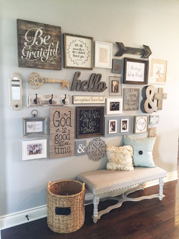 DIY Farmhouse Style Decor Ideas - Entryway Gallery Wall - Rustic Ideas for  Furniture, Paint Colors, Farm House Decoration for Living Room,