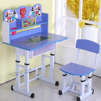Used School Furniture Daycare Cartoon Picture Kids Study Table And
