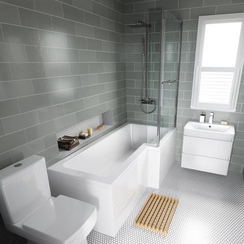 1700mm Right Hand L-Shaped Bath with 6mm thick Screen, rail & front