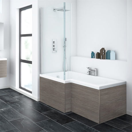 Brooklyn Grey Avola L Shaped Shower Bath | With Screen + Panel