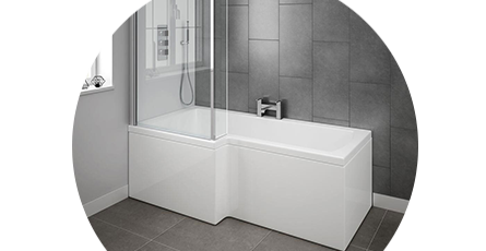 L-Shaped Baths | L-Shape Shower Baths | Victorian Plumbing