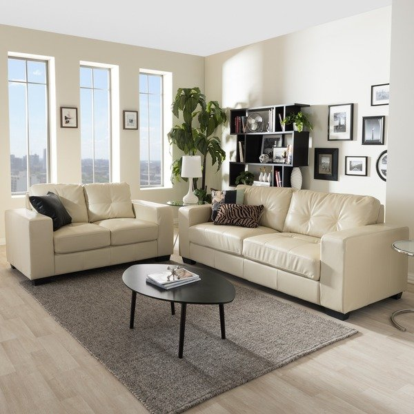 Shop Whitney Modern Ivory Faux Leather Sofa and Loveseat Set - Free