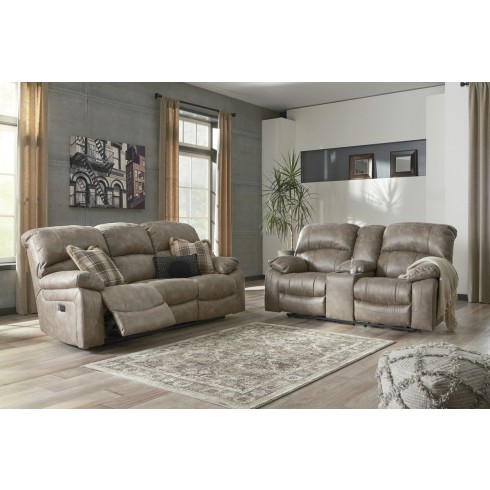 Ashley Furniture Dunwell Power Recliner Living Room Set in Driftwood