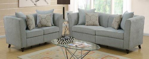 Modern 2 PCs Cushion Seat Taupe Velvet Cloth Loveseat Sofa Set
