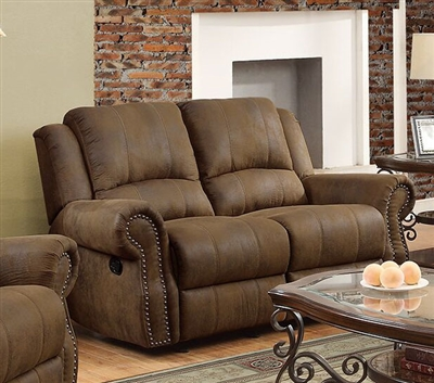 Sir Rawlinson Gliding Reclining Loveseat in Brown Microfiber by