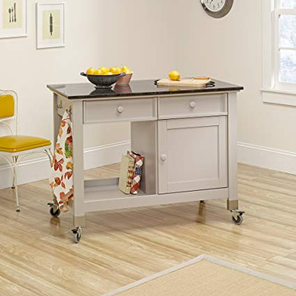 Amazon.com: Sauder 414405 Mobile Kitchen Island, Cobblestone Finish