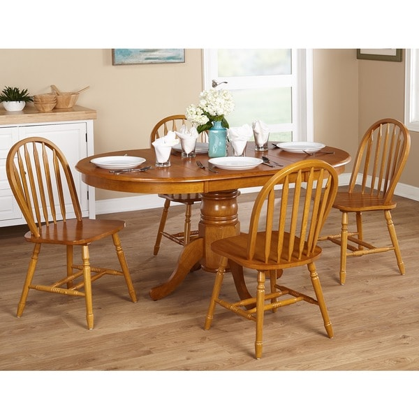 Shop Simple Living Farmhouse 5 or 7-piece Oak Dining Set - Free