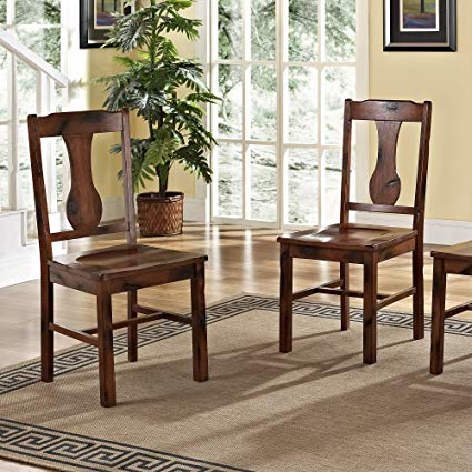 Amazon.com - Solid Wood Dark Oak Dining Chairs, Set of 2 - Chairs