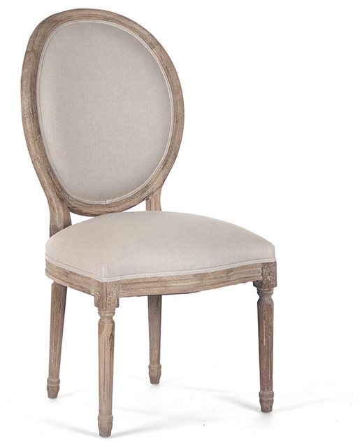 Madeleine French Country Oval Linen Limed Oak Dining Side Chair