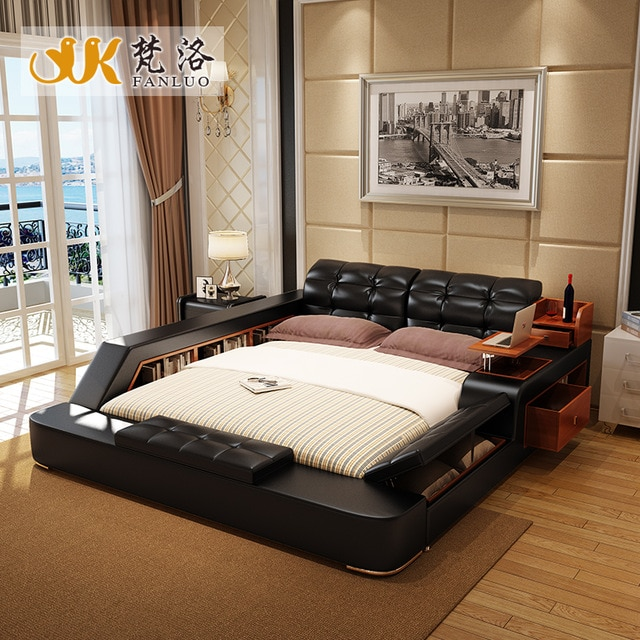 modern leather queen size storage bed frame with side storage