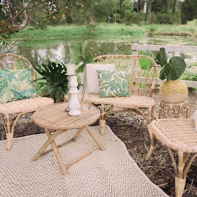 Rattan Sofa Set - Bliss & Willow | Wedding Styling