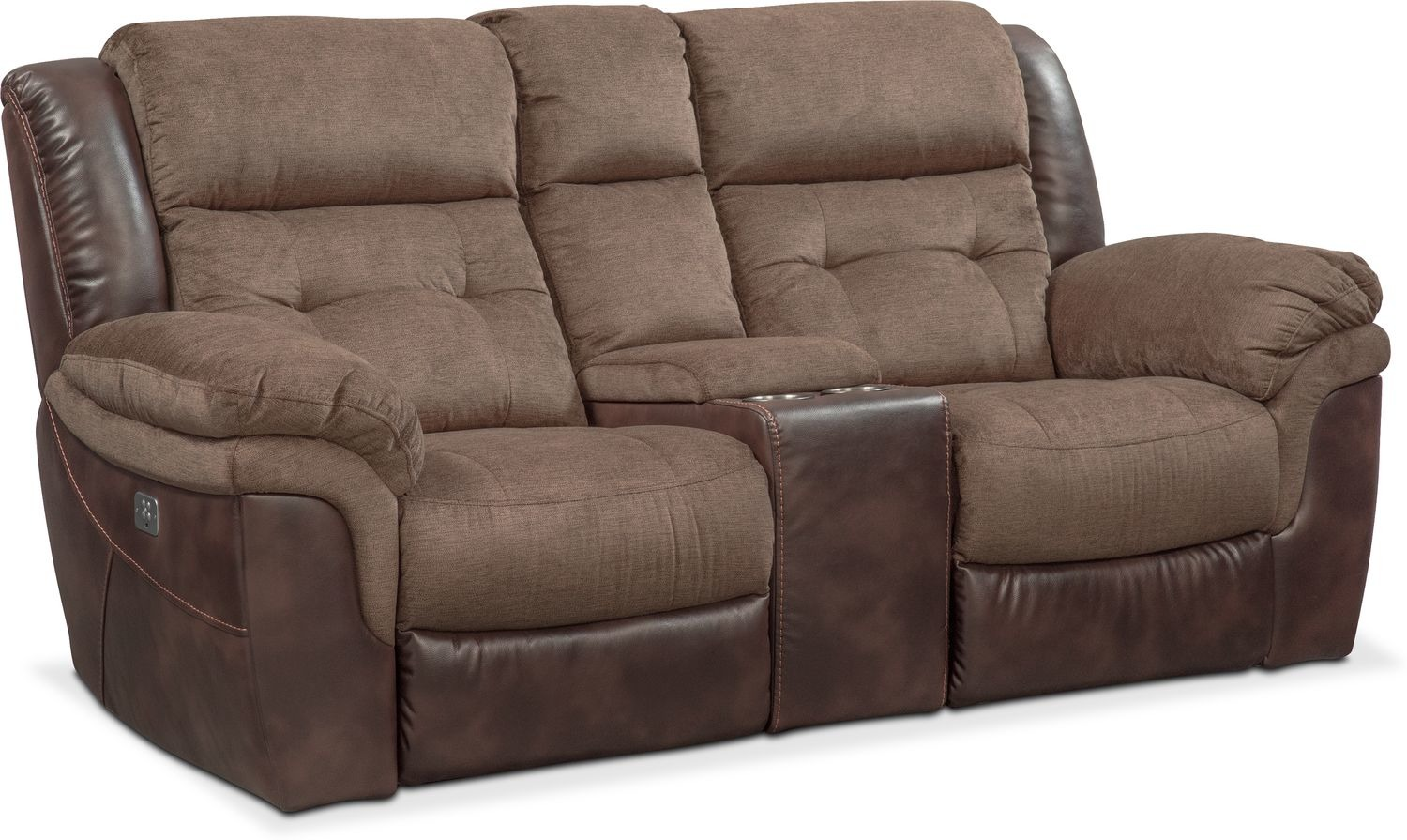 Living Room Furniture - Tacoma Dual Power Reclining Loveseat with Console