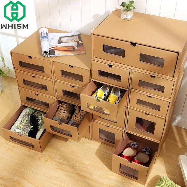 WHISM DIY Kraft Paper Shoe Storage Box Sports Shoes Holder Makeup