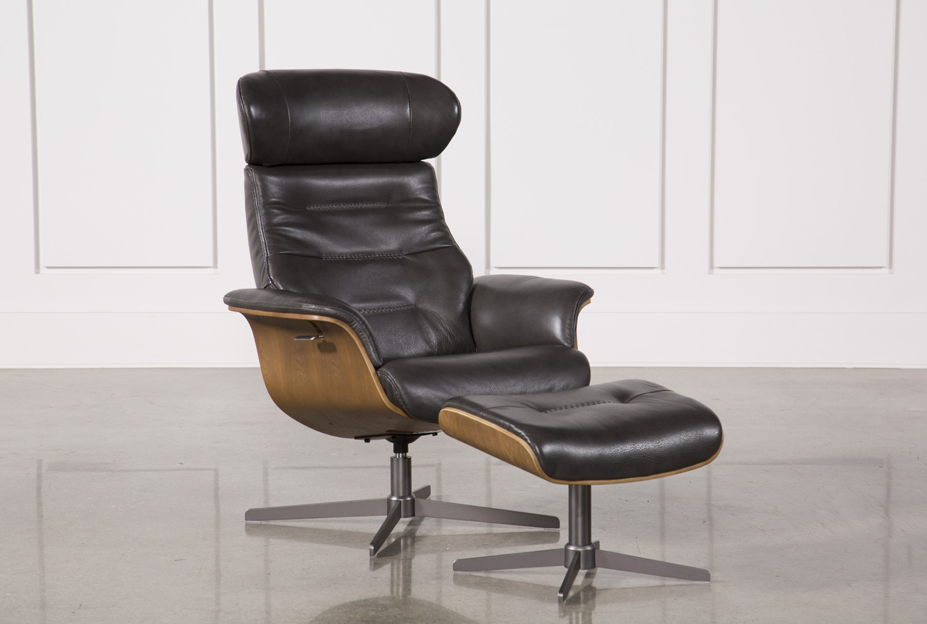 Amala Dark Grey Leather Reclining Swivel Chair & Ottoman | Living Spaces