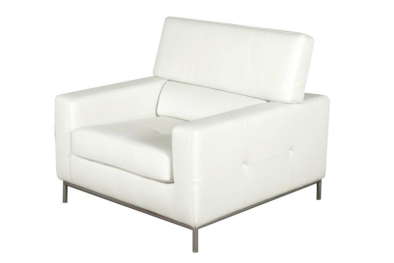 Contemporary white leather   armchairs