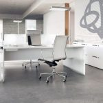 Sleek white office furniture